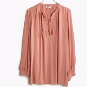 Madewell rose pink lace-up blouse 💓